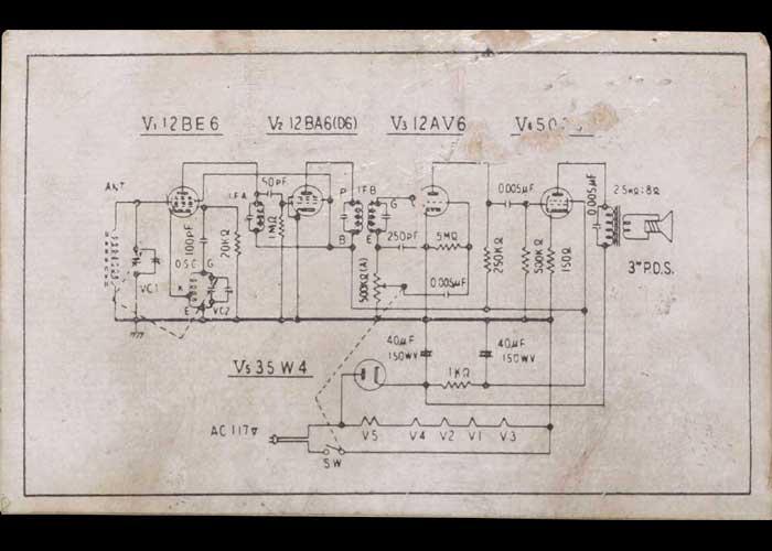 真空管ラジオの回路図